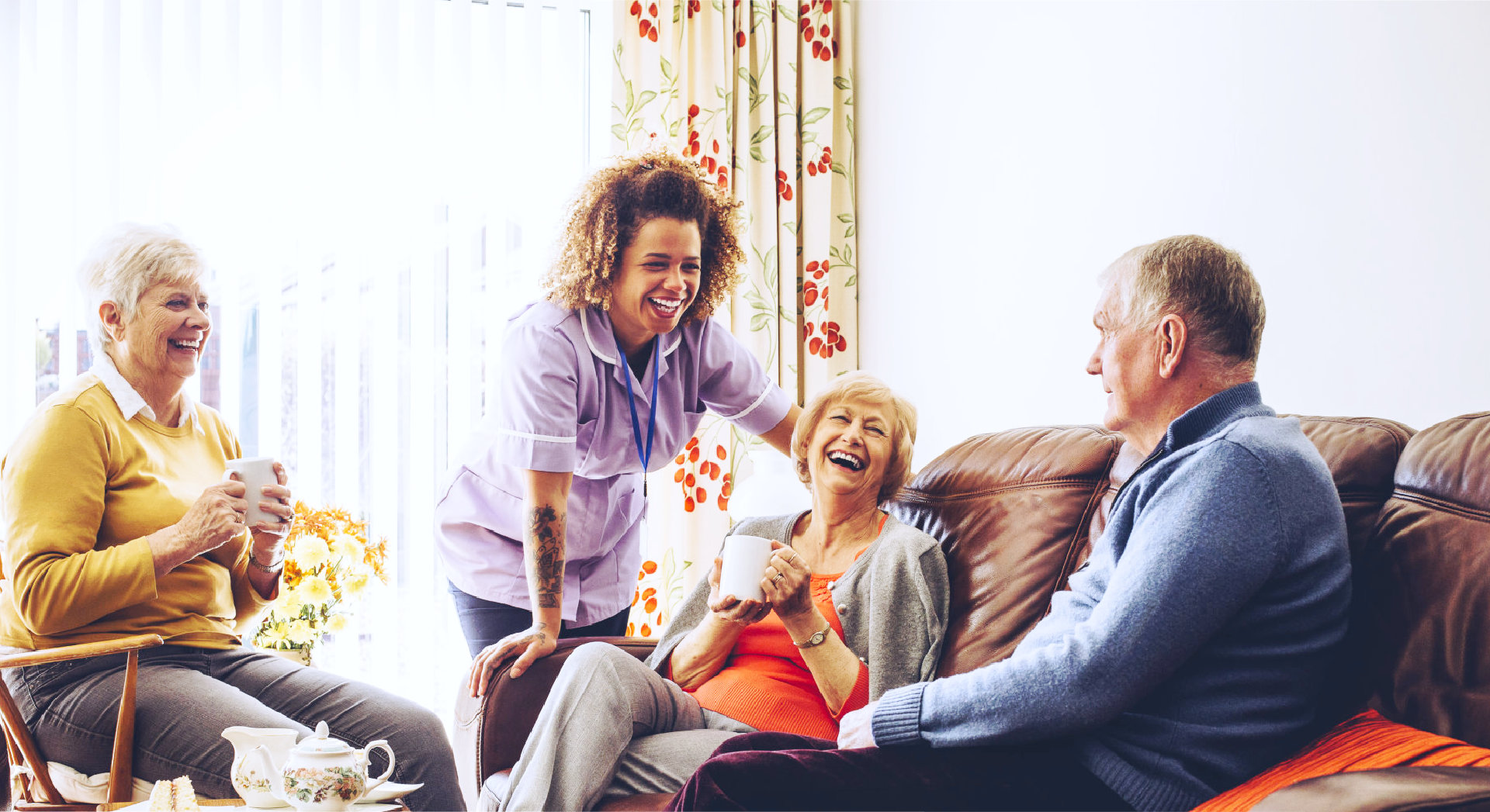 caregiver checking heartbeat of old woman